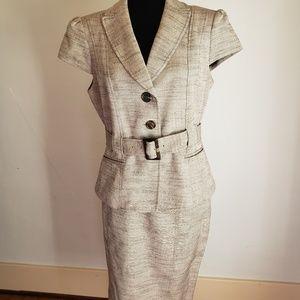 Sz 12 Nine West grey with black skirt suit